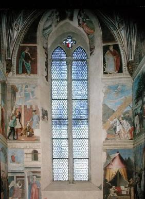 View of the end wall of the apse with frescoes from the Legend of the True Cross cycle completed