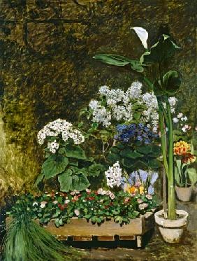 Flowers in a Greenhouse 1864