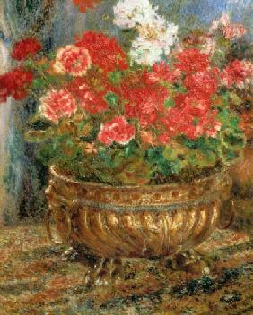 Still life with geraniums in a bronze bowl 1880