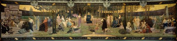 The Sacred Wood, mural in the Grand Amphitheatre depicting allegorical figures of the Sorbonne, Eloq 1887-89