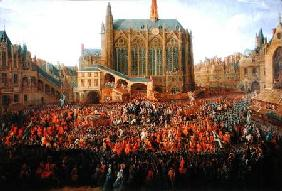The Departure of Louis XV (1710-74) from Sainte-Chapelle after the 'lit de justice' which ended the 1735