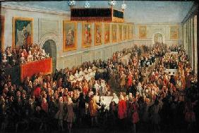 Feast given after the Coronation of Louis XV (1710-74) at the Palais Archiepiscopal in Rheims, 25th 1722