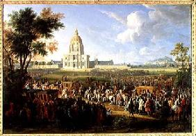 Louis XIV (1638-1715) and his Entourage Visiting Les Invalides 26th Augus