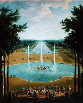 View of the Bassin d'Apollon in the gardens of Versailles 1713