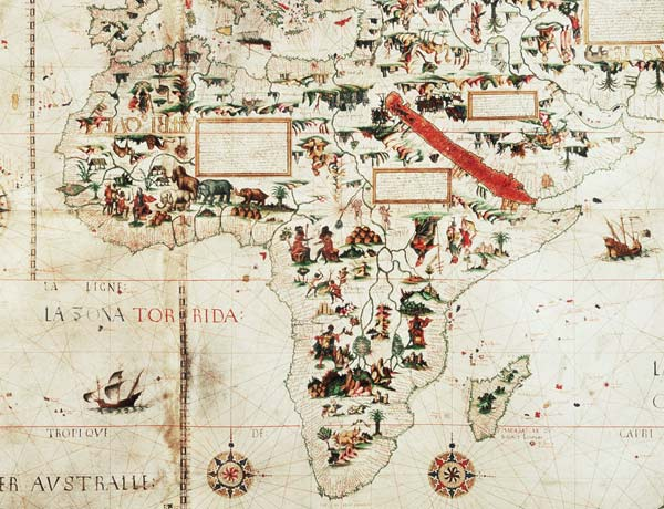 Add 24065: Detail of a map of the world - Pierre Descaliers ...