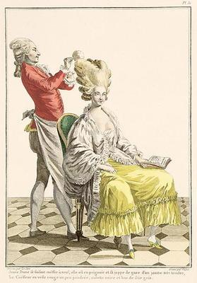 A Young Woman in a Peignoir with her Hairdresser, plate 31 from 'Galerie des Modes et Costumes Franc 16th