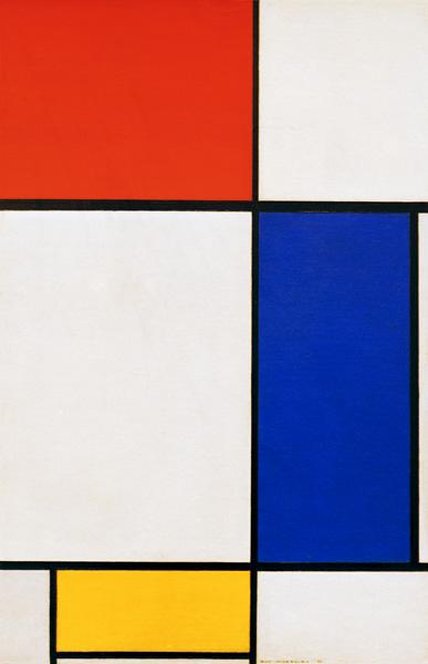 komposition mit rot gelb blau piet mondrian als kunstdruck oder handgemaltes gem lde. Black Bedroom Furniture Sets. Home Design Ideas