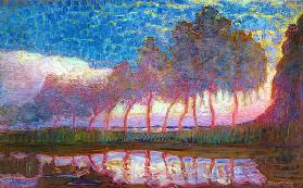 Row of Eleven Poplars in Red 1908