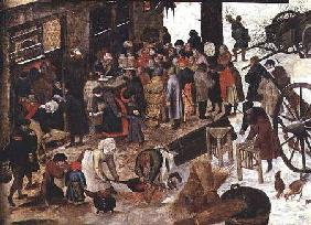 The Payment of the Tithe, or The Census at Bethlehem, detail after 1566