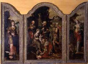 Triptych depicting the Adoration of the Magi and two saints