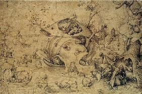 The Temptation of St. Anthony, 1556 (pen & Indian ink on paper) 1568