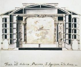 Cross section view of a theatre on the Grand Canal showing the stage and orchestra (Ausschnitt) 1787  &
