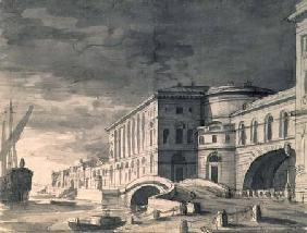 View of the Neva Embankment with the Hermitage Theatre in the centre after 1802