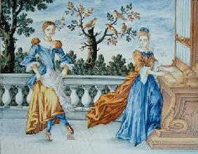 Two young women, one playing the organ and one dancing 1630