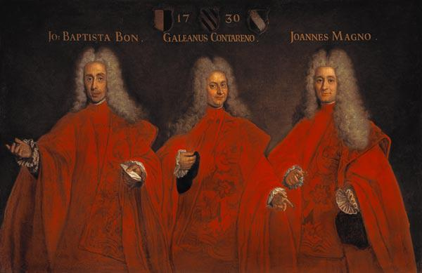Portrait of three lawyers, Giovanbattista Bon, Galeano Contarini and Giovanni Magno 1730