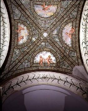 The semicircular ionic portico, detail of the ceiling vault decorated with putti in a garden 1551-55