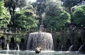 The 'Fontana Ovale' (Oval Fountain) in the gardens designed