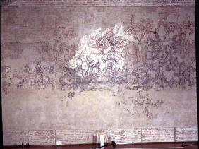 Battle tournament, fragment of mural painting from the Sala del Pisanello