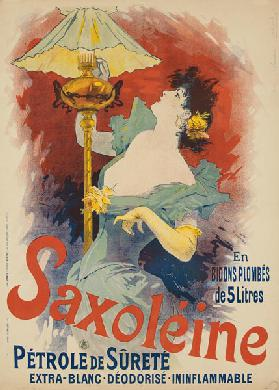 Poster advertising 'Saxoleine Safety Lamp Oil' 1890s