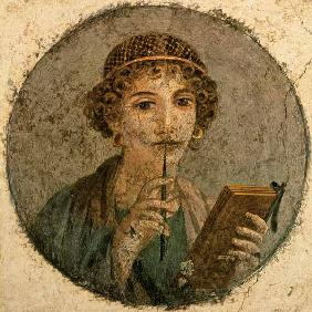 Kunstdruck von  Pompeji, Wandmalerei - Bildnis einer jungen Frau mit Griffel und Schreibtäfelchen