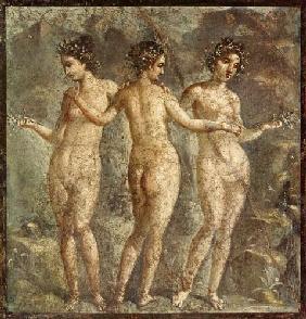 Kunstdruck von  Pompeji, Wandmalerei - Die drei Grazien