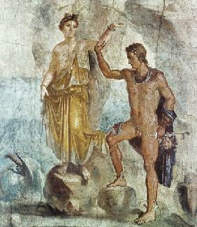 Kunstdruck von  Pompeji, Wandmalerei - Perseus befreit Andromeda.