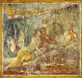 Kunstdruck von  Pompeji, Wandmalerei - Zwei Paare im Sommertriklinium