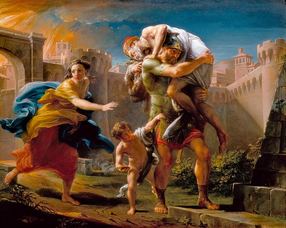Aeneas and his family running away from the city of Troy 18th