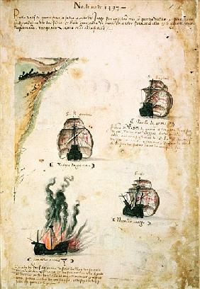 Departure of Vasco da Gama (c.1469-1524) in 1497, from ''Libro das Armadas''