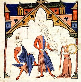 Fol.6r Musicians Playing a Viola and a Tambourine, from the ''Chansonnier des Nobles''