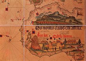Map of Sao Jorge da Mina, on the Gold Coast of Africa, founded by the Portuguese in 1482 (coloured e 1710