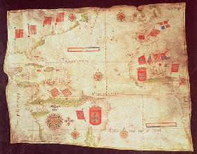 Map of the Atlantic Ocean, c.1550