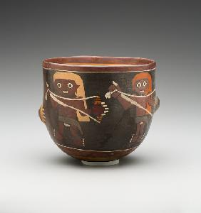 Bowl decorated with Men Spinning (painted terracotta) -2