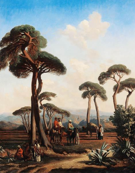Arabs and Camels in Wooded Landscape