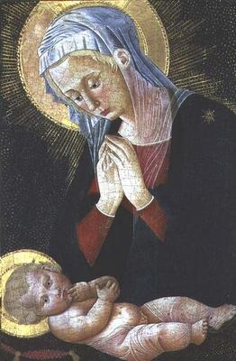Madonna adoring the Christ Child (tempera on panel) 18th