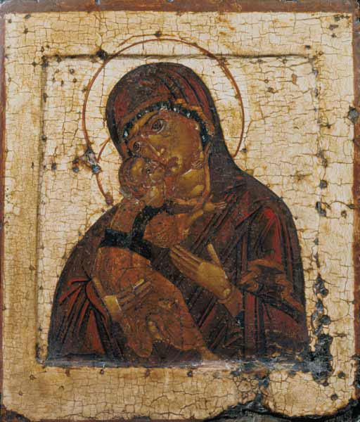 The Mother of God of Vladimir, Russian icon late 15th