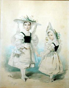Portrait of the Grand Princesses Olga and Alexandra in Fancy Dress 1830s  on