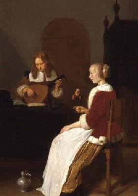 An interior with a lute player and a woman holding a parrot