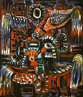 Roosters, 1967 (oil on canvas)