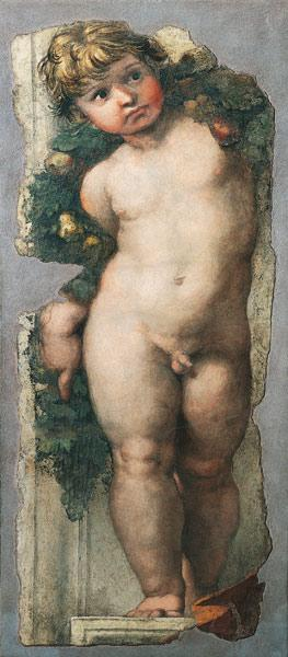 Putto with Festoon (fresco fragment)
