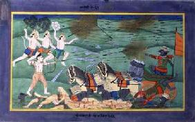 The Battle of Lanka (Ceylon), between Rama and Ravana, King of the Rakshasas, from the 'Ramayana' early 19th