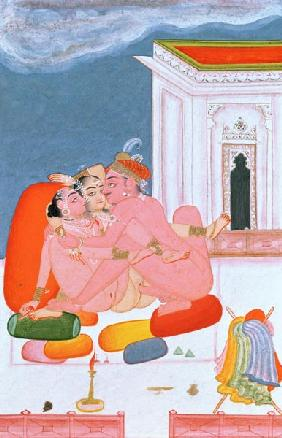 A Prince involved in united intercourse, described by Vatsyayana in his 'Kama Sutra', Bundi, Rajasth c.1800