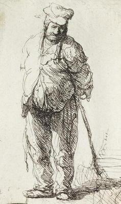 Beggar leaning on a Stick (pen & ink on paper) 1473