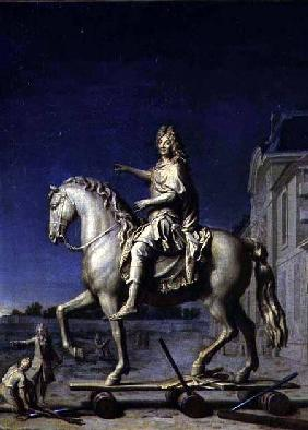 Transporting the Equestrian Statue of Louis XIV to the Place Vendome in 1699 after 1669