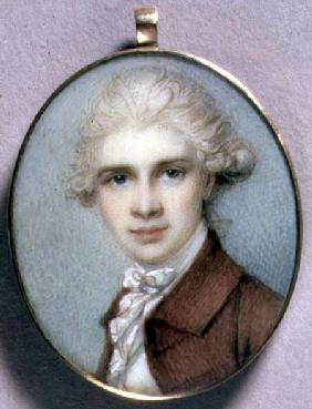 Portrait Miniature of a Young Man in a Brown Coat 1780's