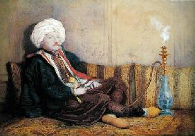 Portrait of Sir Thomas Philips in Eastern Costume, Reclining with a Hookah  heightened with white on