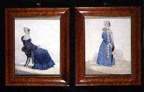 Two portraits of a Seated and a Standing Lady in Blue Dresses c.1830  an