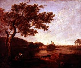 Italian River Scene with Figures