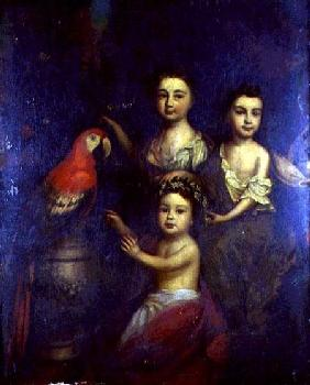 Portrait of Three Children with a Macaw