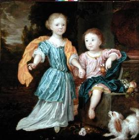 Portrait of a Young Girl and Boy, said to be the children of Sir William Reynolds Lloyd 1687
